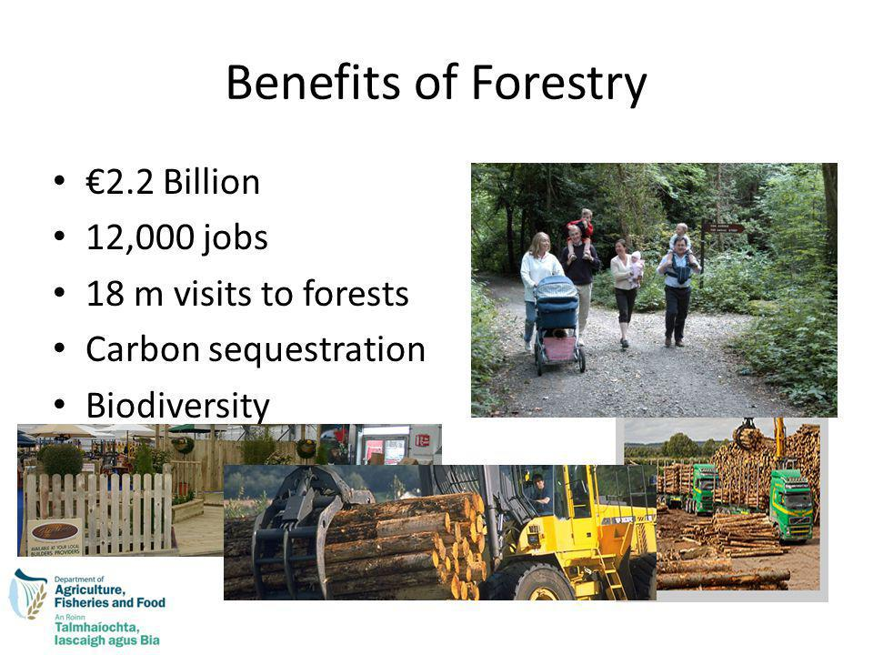 Benefits of Forestry 2.2 Billion 12,000 jobs 18 m visits to forests Carbon sequestration Biodiversity