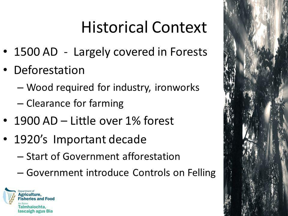 Historical Context 1500 AD - Largely covered in Forests Deforestation – Wood required for industry, ironworks – Clearance for farming 1900 AD – Little over 1% forest 1920s Important decade – Start of Government afforestation – Government introduce Controls on Felling