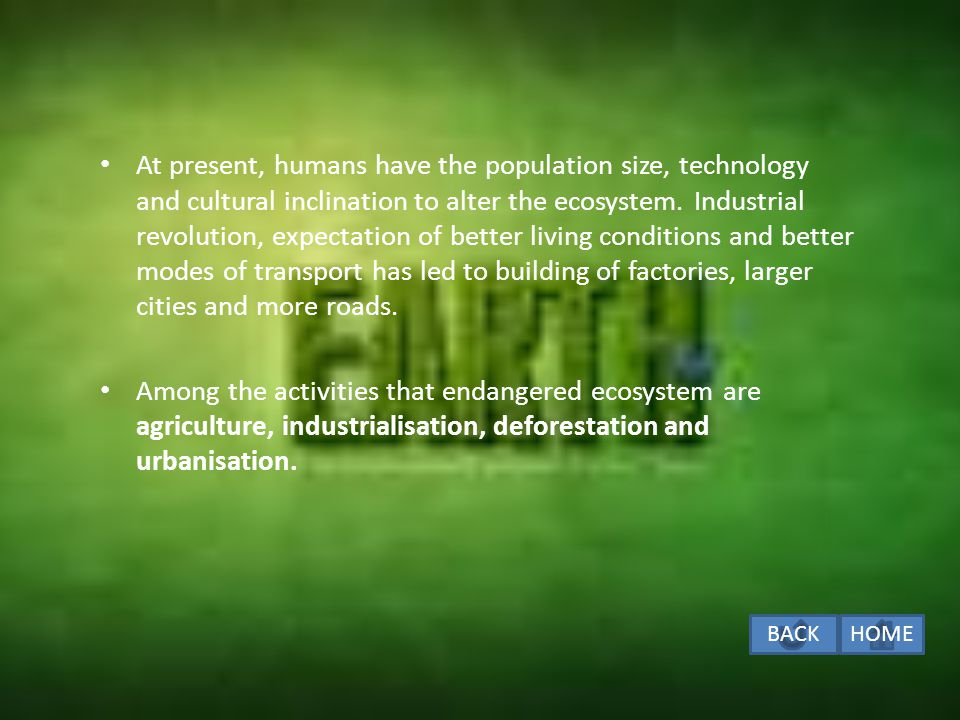 HUMAN ACTIVITIES THAT ENDANGERD ECOSYSTEM The size of the human population has been rising exponentially.