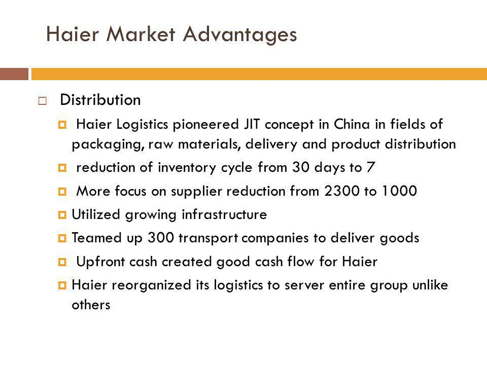 Distribution Haier Logistics pioneered JIT concept in China in fields of packaging, raw materials, delivery and product distribution reduction of inve