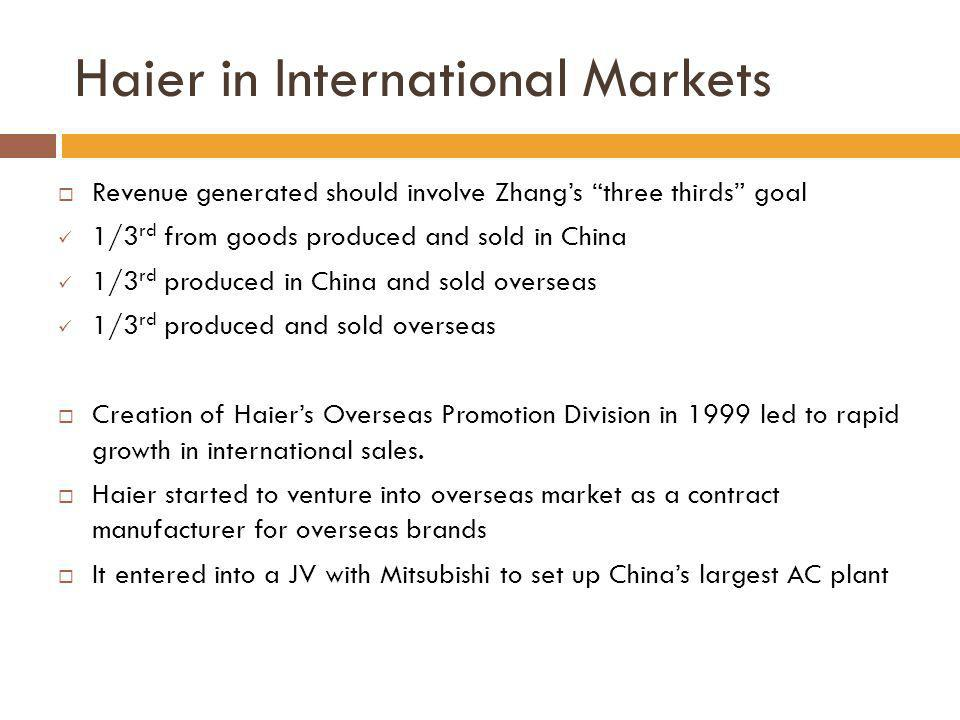 Haier in International Markets Revenue generated should involve Zhangs three thirds goal 1/3 rd from goods produced and sold in China 1/3 rd produced
