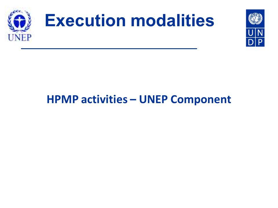Execution modalities HPMP activities – UNEP Component