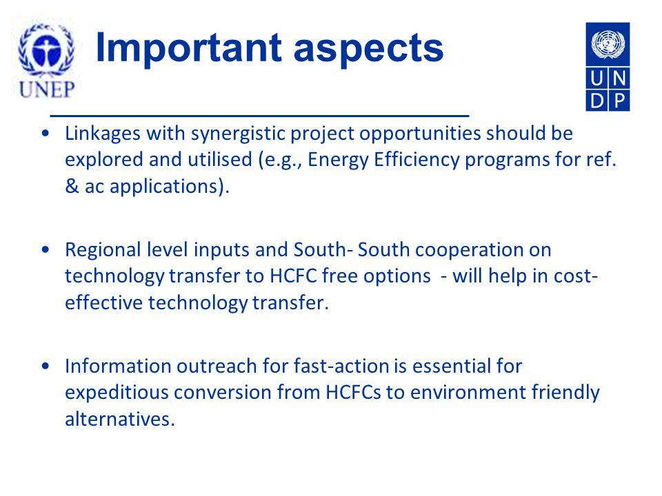 Important aspects Linkages with synergistic project opportunities should be explored and utilised (e.g., Energy Efficiency programs for ref.
