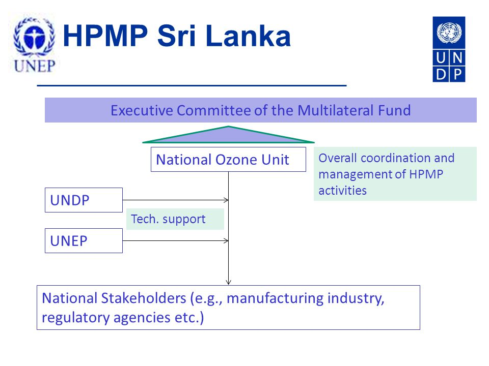 HPMP Sri Lanka National Ozone Unit National Stakeholders (e.g., manufacturing industry, regulatory agencies etc.) UNDP UNEP Overall coordination and management of HPMP activities Executive Committee of the Multilateral Fund Tech.