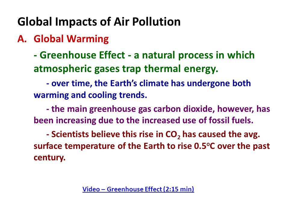 Global Impacts of Air Pollution A.Global Warming - Greenhouse Effect - a natural process in which atmospheric gases trap thermal energy.