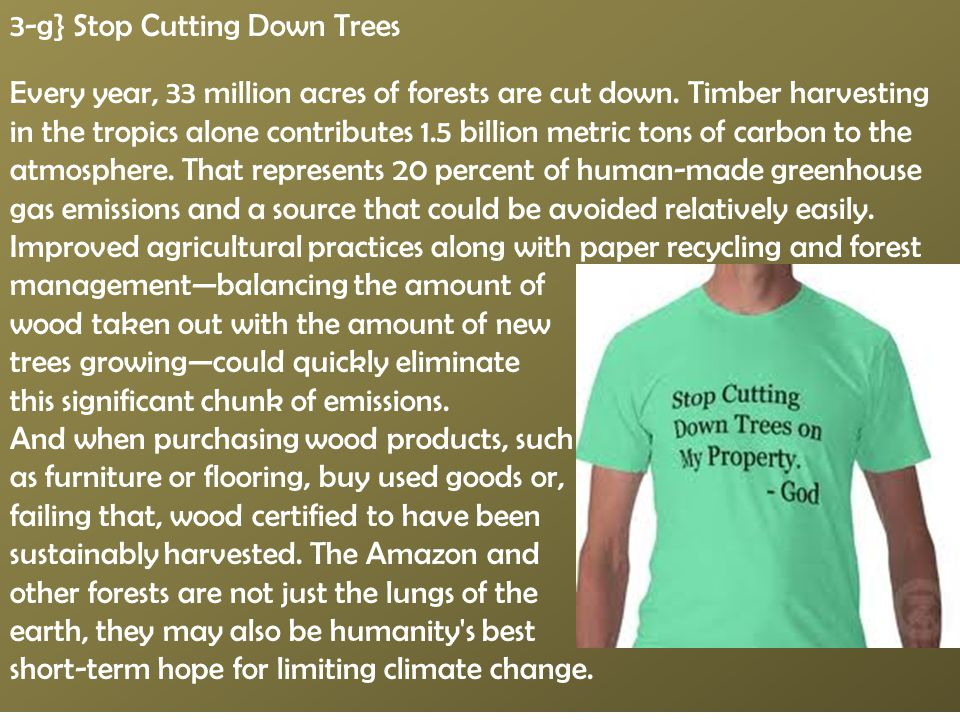 3-g} Stop Cutting Down Trees Every year, 33 million acres of forests are cut down. Timber harvesting in the tropics alone contributes 1.5 billion metr