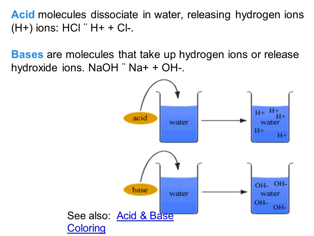 C. Acids and Bases 1. Covalently bonded water molecules ionize; the atoms dissociate into ions. 2. When water ionizes or dissociates, it releases a sm