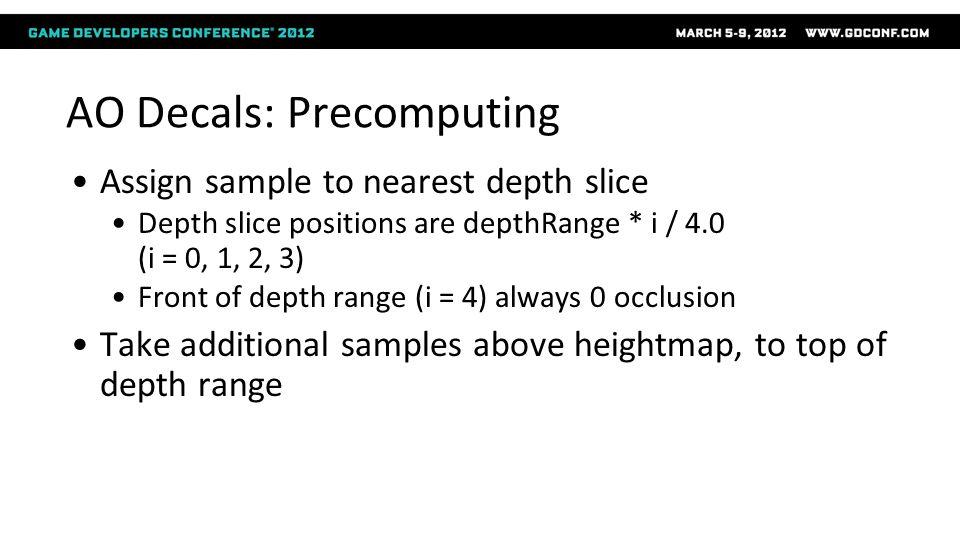 Assign sample to nearest depth slice Depth slice positions are depthRange * i / 4.0 (i = 0, 1, 2, 3) Front of depth range (i = 4) always 0 occlusion T