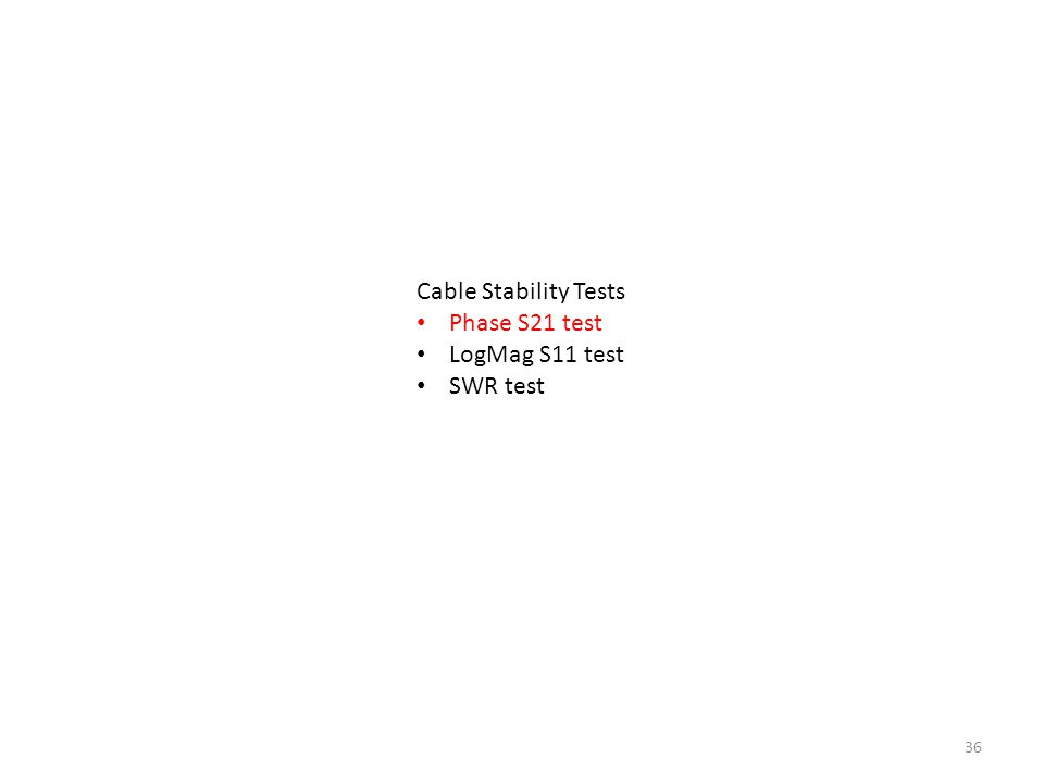 36 Cable Stability Tests Phase S21 test LogMag S11 test SWR test