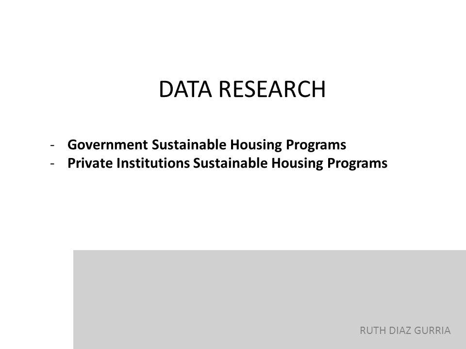 RUTH DIAZ GURRIA DATA RESEARCH -Government Sustainable Housing Programs -Private Institutions Sustainable Housing Programs