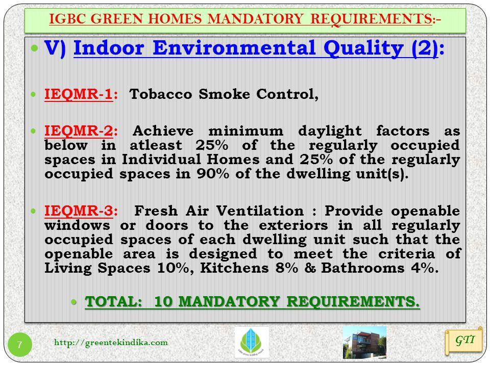 http://greentekindika.com 7 IGBC GREEN HOMES MANDATORY REQUIREMENTS:- GTI V) Indoor Environmental Quality (2): IEQMR-1: Tobacco Smoke Control, IEQMR-2