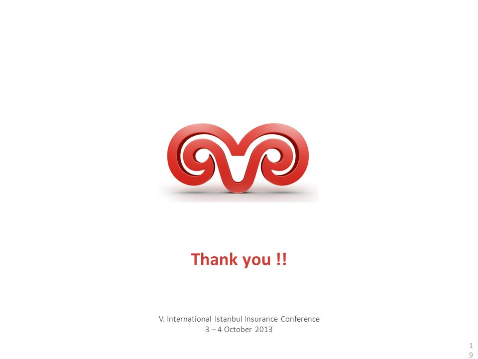 V. International Istanbul Insurance Conference 3 – 4 October 2013 Thank you !! 19