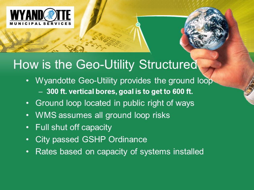 How is the Geo-Utility Structured Wyandotte Geo-Utility provides the ground loop –300 ft.