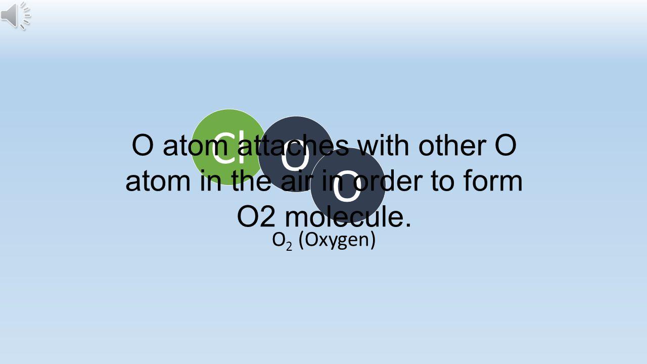 Cl O O O O 3 (Ozone)O 2 (Oxygen) That Cl atom combines with ozone molecule (O3).