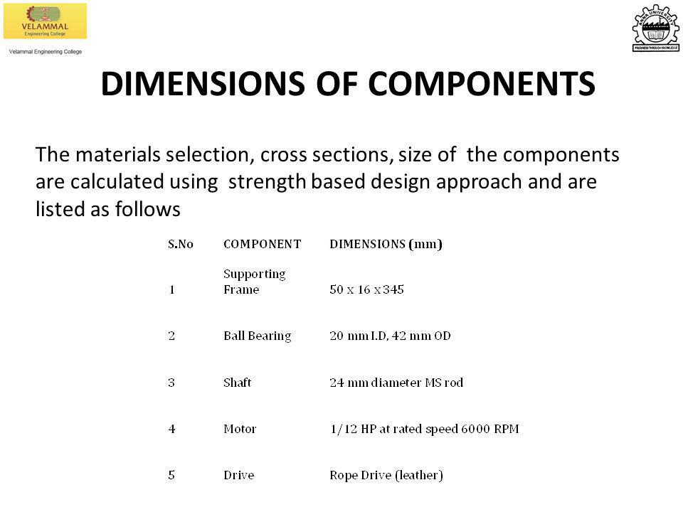 DIMENSIONS OF COMPONENTS The materials selection, cross sections, size of the components are calculated using strength based design approach and are l