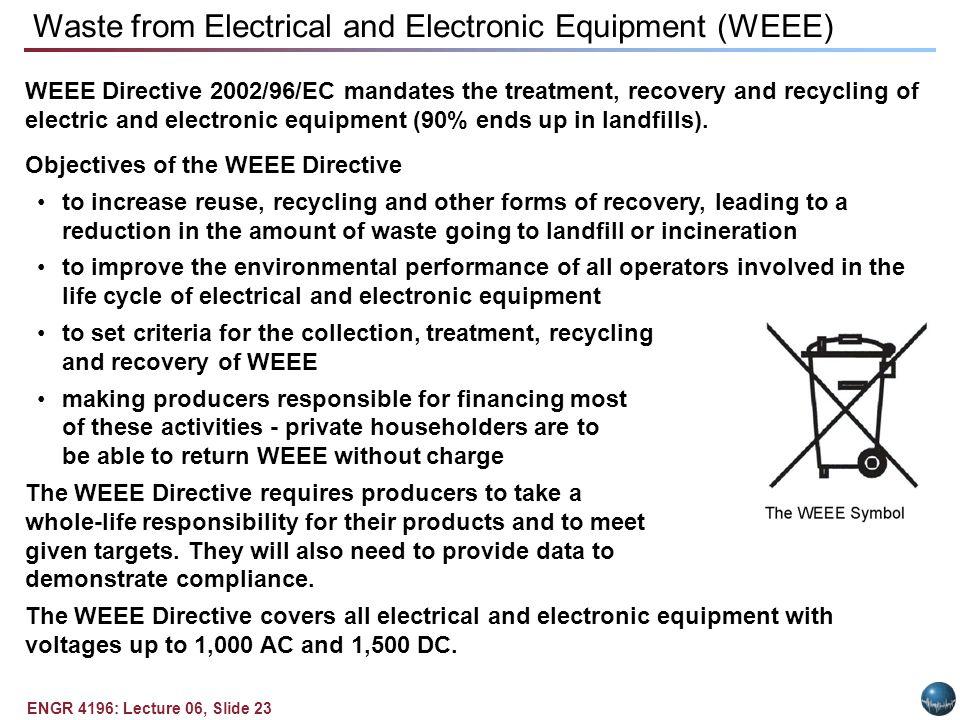 ENGR 4196: Lecture 06, Slide 23 WEEE Directive 2002/96/EC mandates the treatment, recovery and recycling of electric and electronic equipment (90% ends up in landfills).