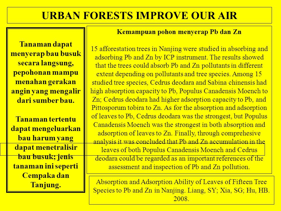 Tanaman dapat menyerap bau busuk secara langsung, pepohonan mampu menahan gerakan angin yang mengalir dari sumber bau.