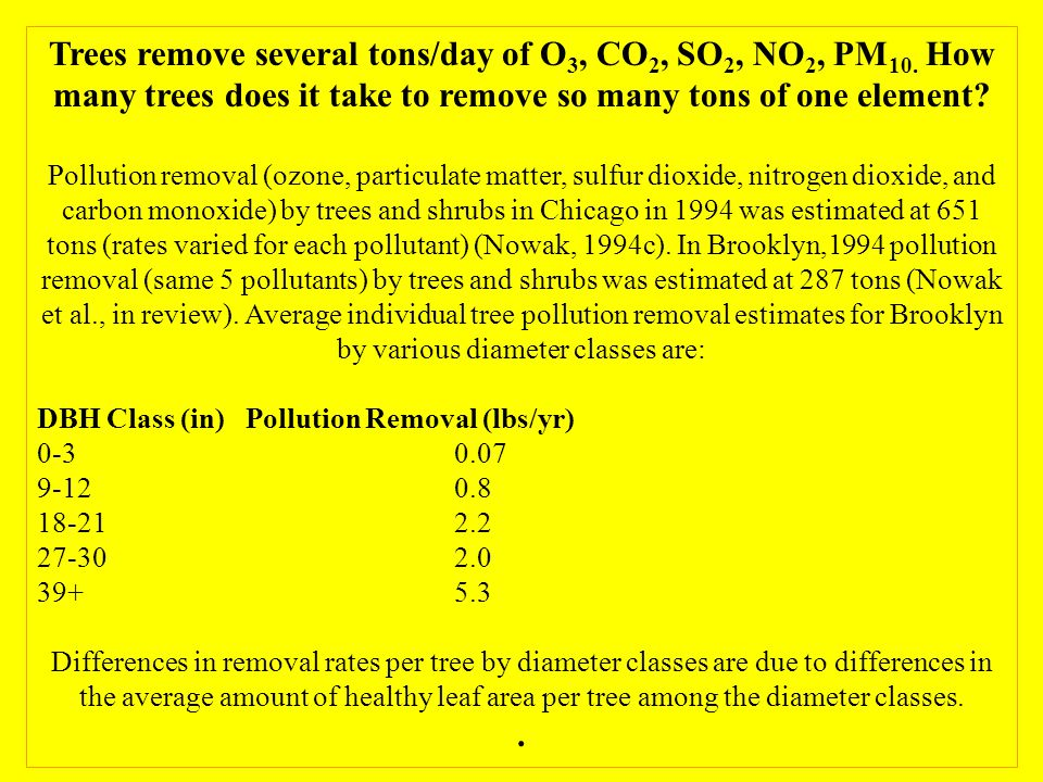 Trees remove several tons/day of O 3, CO 2, SO 2, NO 2, PM 10.