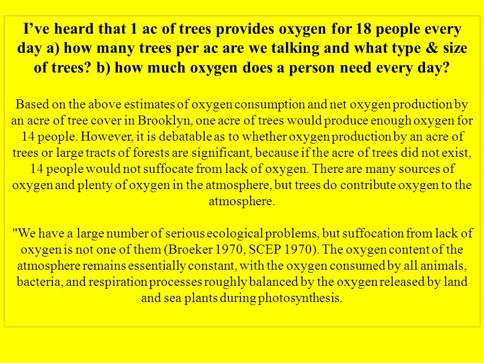 Ive heard that 1 ac of trees provides oxygen for 18 people every day a) how many trees per ac are we talking and what type & size of trees.