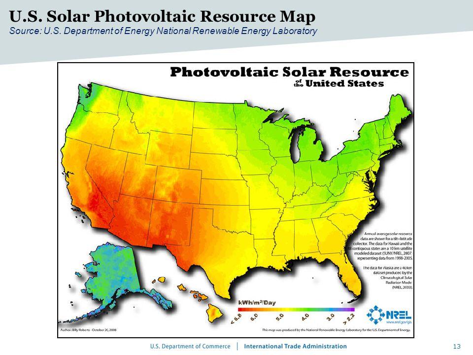 13 U.S. Solar Photovoltaic Resource Map Source: U.S.
