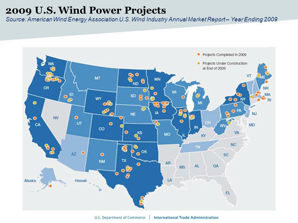 2009 U.S. Wind Power Projects Source: American Wind Energy Association U.S.