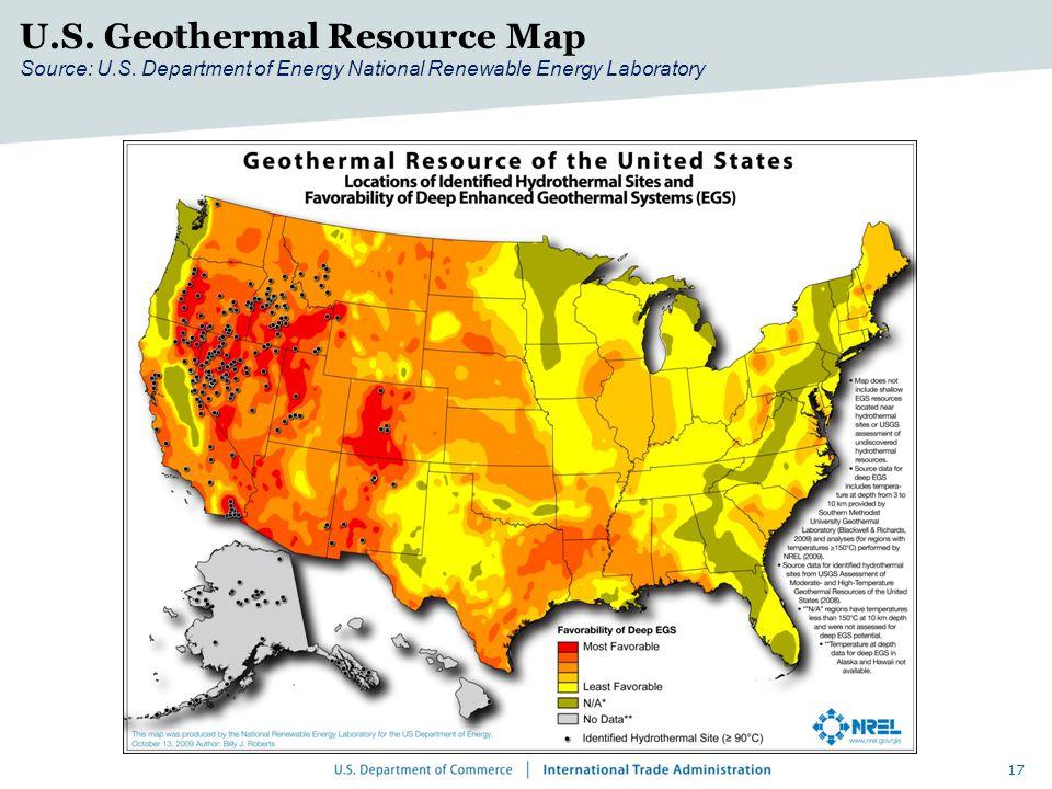 17 U.S. Geothermal Resource Map Source: U.S.