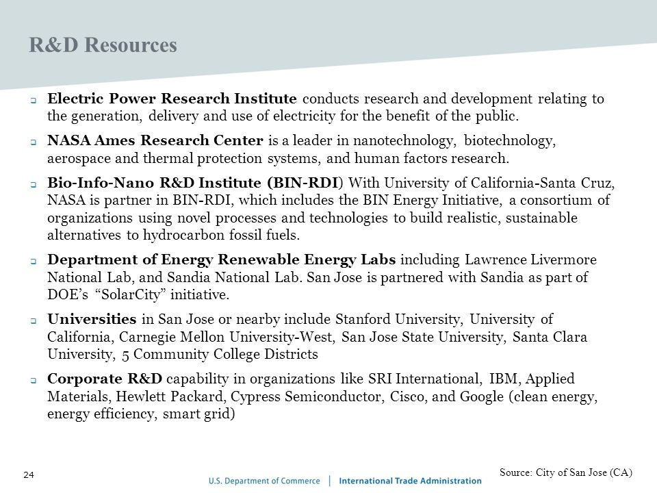 24 R&D Resources Electric Power Research Institute conducts research and development relating to the generation, delivery and use of electricity for the benefit of the public.