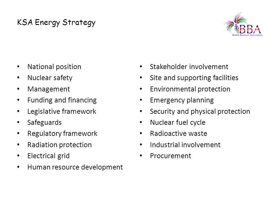 KSA Energy Strategy National position Nuclear safety Management Funding and financing Legislative framework Safeguards Regulatory framework Radiation