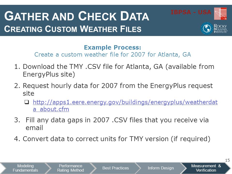 IBPSA - USA G ATHER AND C HECK D ATA C REATING C USTOM W EATHER F ILES 1.Download the TMY.CSV file for Atlanta, GA (available from EnergyPlus site) 2.