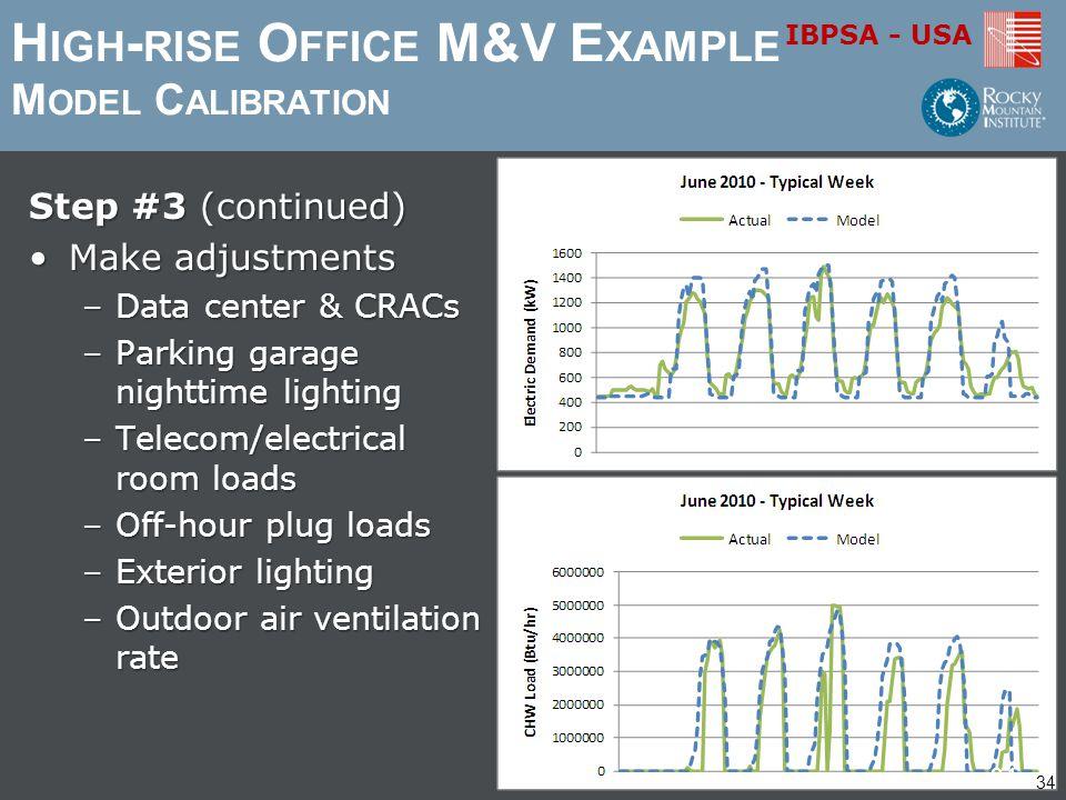 IBPSA - USA H IGH - RISE O FFICE M&V E XAMPLE M ODEL C ALIBRATION Step #3 (continued) Make adjustmentsMake adjustments –Data center & CRACs –Parking g
