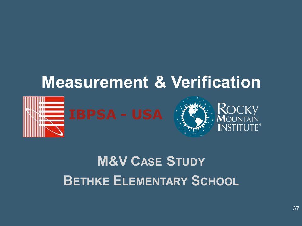 Measurement & Verification M&V C ASE S TUDY B ETHKE E LEMENTARY S CHOOL IBPSA - USA 37