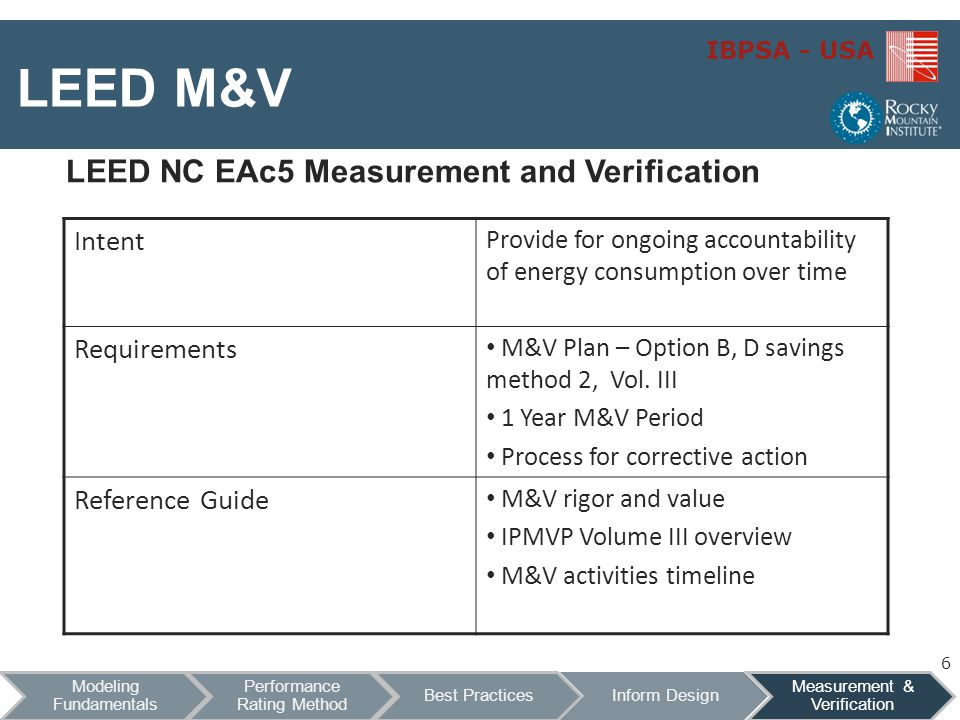 IBPSA - USA LEED M&V LEED NC EAc5 Measurement and Verification Intent Provide for ongoing accountability of energy consumption over time Requirements