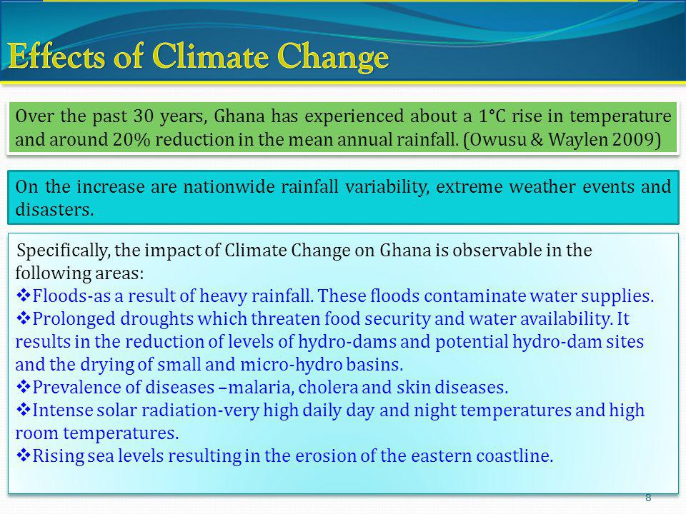 8 Over the past 30 years, Ghana has experienced about a 1°C rise in temperature and around 20% reduction in the mean annual rainfall. (Owusu & Waylen
