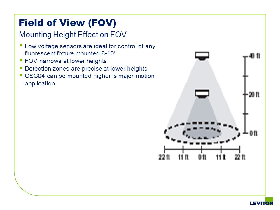 Field of View (FOV) Low voltage sensors are ideal for control of any fluorescent fixture mounted 8-10 FOV narrows at lower heights Detection zones are