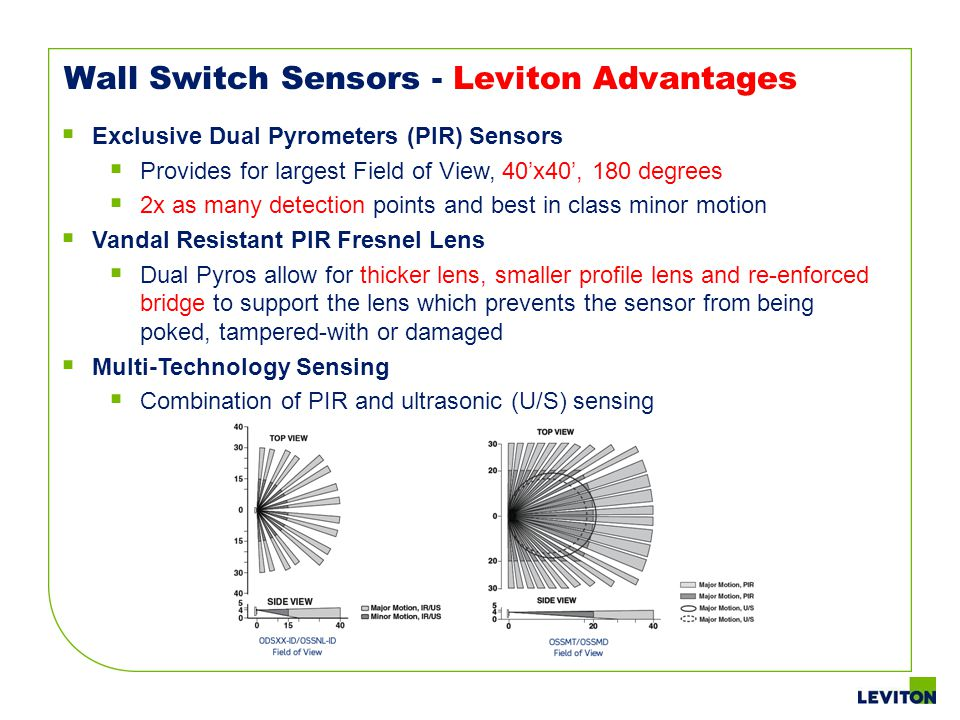 Wall Switch Sensors - Leviton Advantages Exclusive Dual Pyrometers (PIR) Sensors Provides for largest Field of View, 40x40, 180 degrees 2x as many det