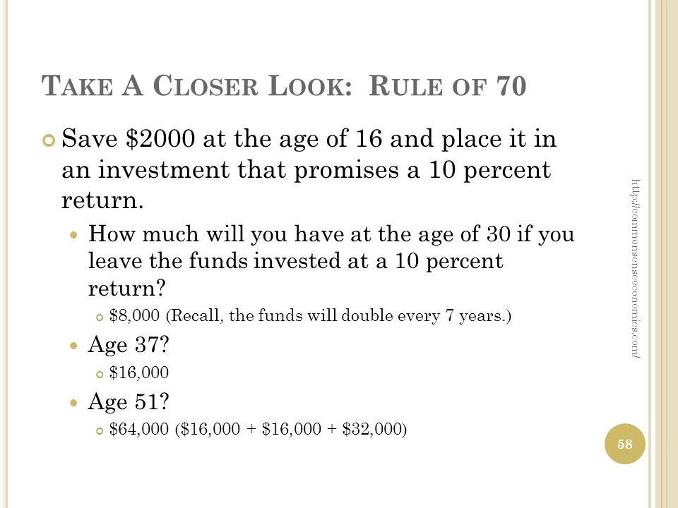T AKE A C LOSER L OOK : R ULE OF 70 Save $2000 at the age of 16 and place it in an investment that promises a 10 percent return.