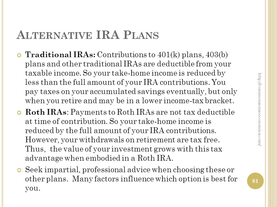 A LTERNATIVE IRA P LANS Traditional IRAs: Contributions to 401(k) plans, 403(b) plans and other traditional IRAs are deductible from your taxable income.