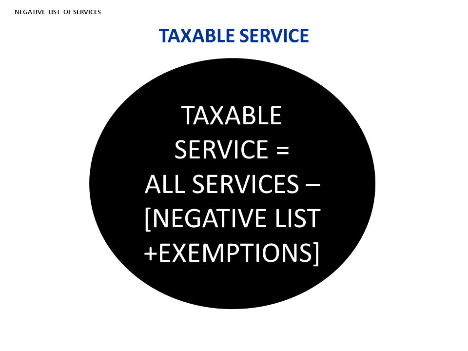 TAXABLE SERVICE TAXABLE TA TAXABLE SERVICE = ALL SERVICES – [NEGATIVE LIST +EXEMPTIONS] NEGATIVE LIST OF SERVICES