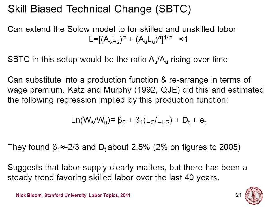 Nick Bloom, Stanford University, Labor Topics, 2011 21 Skill Biased Technical Change (SBTC) Can extend the Solow model to for skilled and unskilled labor L=[(A s L s ) σ + (A u L u ) σ ] 1/σ <1 SBTC in this setup would be the ratio A s /A u rising over time Can substitute into a production function & re-arrange in terms of wage premium.