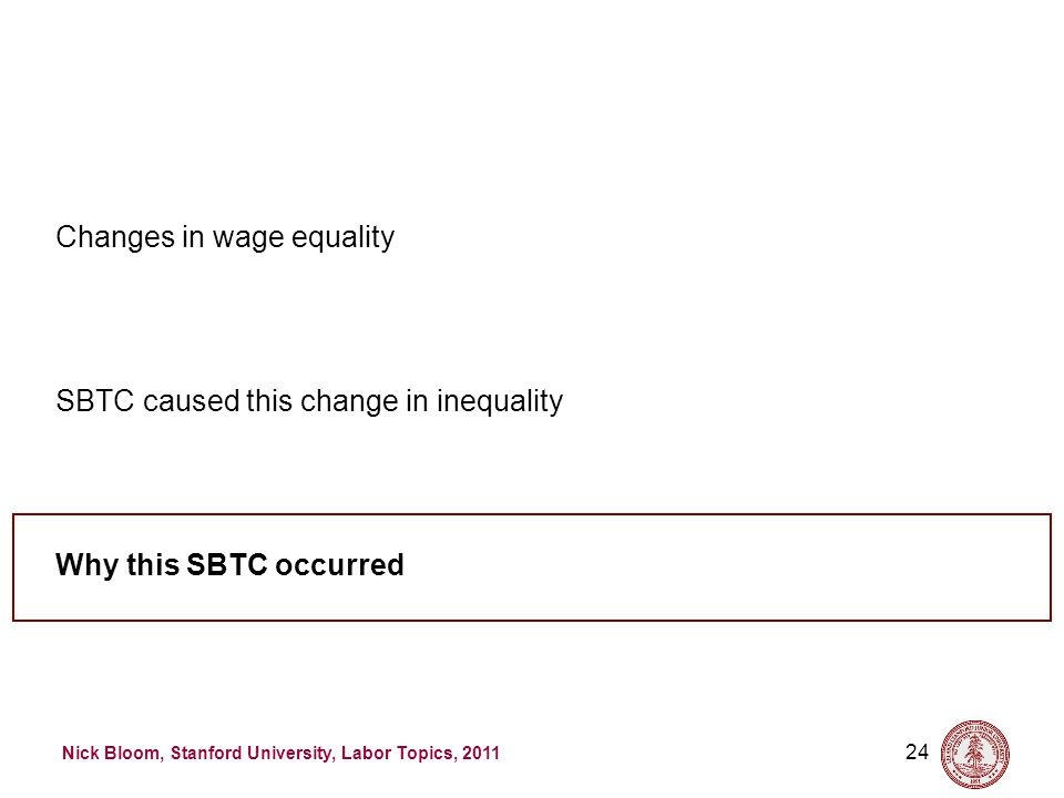 Nick Bloom, Stanford University, Labor Topics, 2011 24 Why this SBTC occurred SBTC caused this change in inequality Changes in wage equality