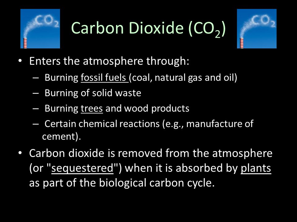 Carbon Dioxide (CO 2 ) Enters the atmosphere through: – Burning fossil fuels (coal, natural gas and oil) – Burning of solid waste – Burning trees and