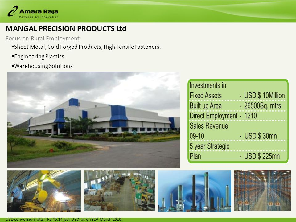 MANGAL PRECISION PRODUCTS Ltd Focus on Rural Employment Sheet Metal, Cold Forged Products, High Tensile Fasteners.