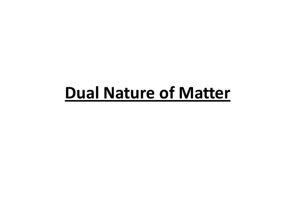 Dual Nature of Matter