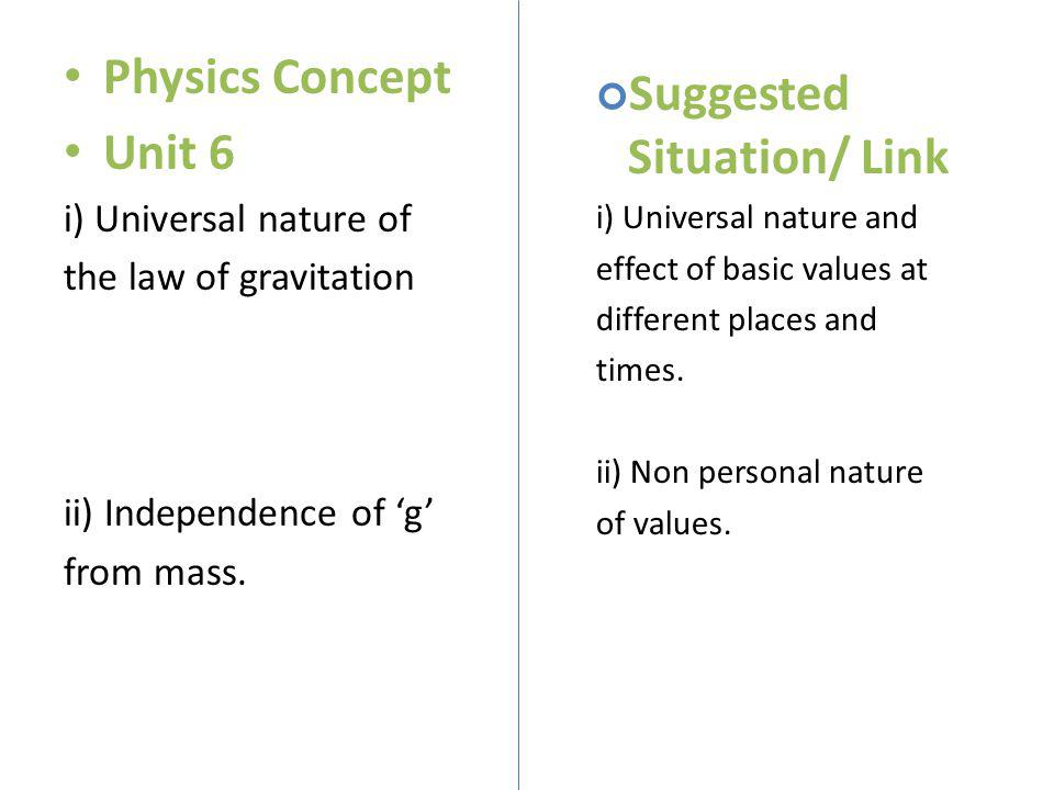 Physics Concept Unit 6 i) Universal nature of the law of gravitation ii) Independence of g from mass. Suggested Situation/ Link i) Universal nature an