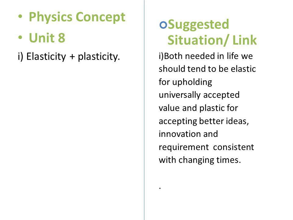 Physics Concept Unit 8 i) Elasticity + plasticity. Suggested Situation/ Link i)Both needed in life we should tend to be elastic for upholding universa