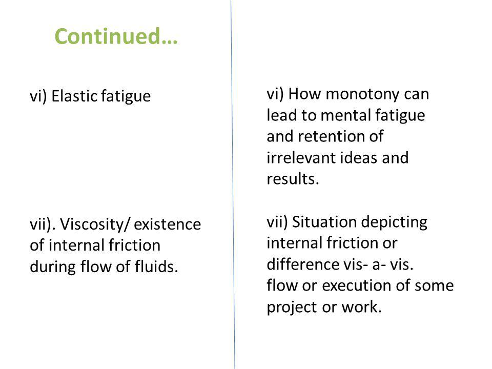 Continued… vi) Elastic fatigue vii). Viscosity/ existence of internal friction during flow of fluids. vi) How monotony can lead to mental fatigue and