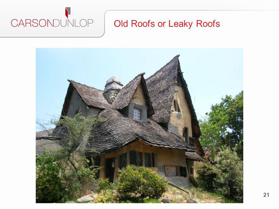 Description Old roofs – near or past end of life Leaky roofs – isolated areas of water penetration May be able to determine approximate age of roof when outside Can usually see water damage inside the home 22 Old Roofs or Leaky Roofs