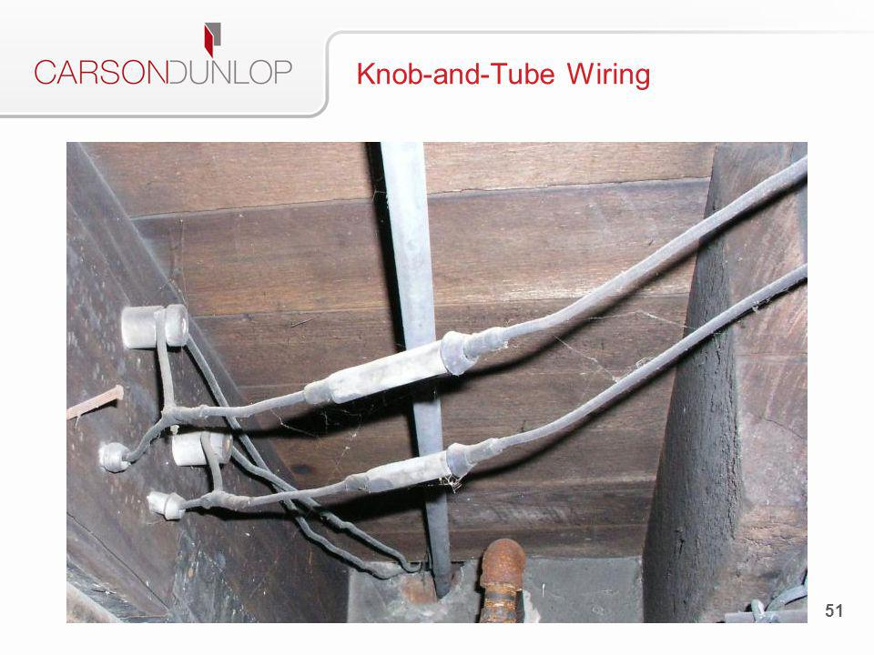 Description Used in all homes up until about 1950 Good-quality copper wiring, with no grounding Separate cables for black (hot) and white (neutral) Can be an issue with insurance companies 52 Knob-and-Tube Wiring