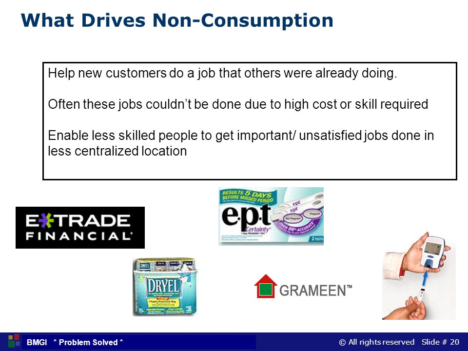 © All rights reserved Slide # 20 BMGI * Problem Solved * Help new customers do a job that others were already doing. Often these jobs couldnt be done