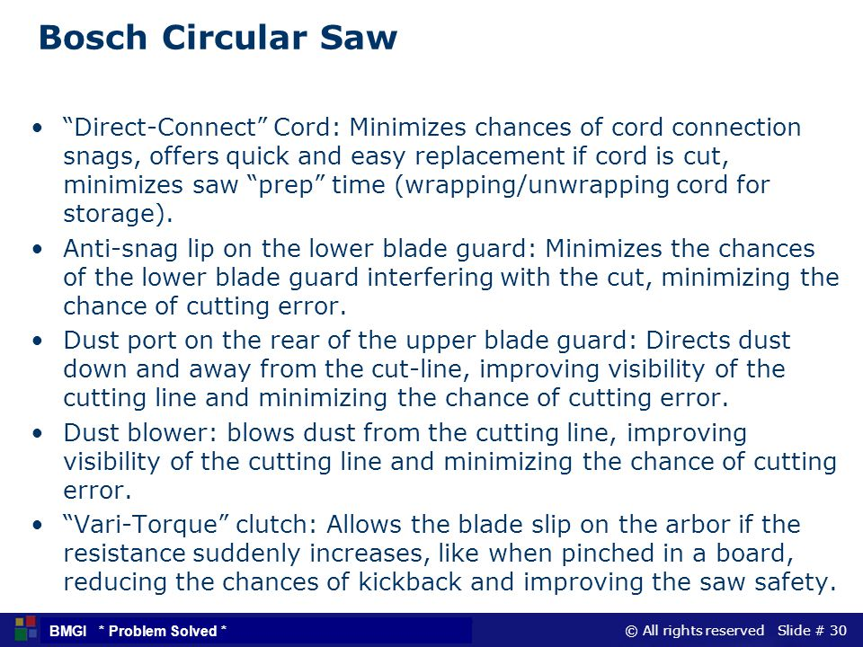 © All rights reserved Slide # 30 BMGI * Problem Solved * Bosch Circular Saw Direct-Connect Cord: Minimizes chances of cord connection snags, offers qu